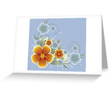 Orange and blue flowers bouquet Greeting Card