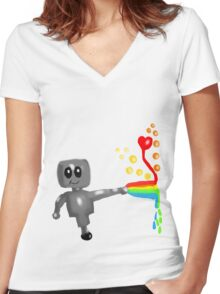 Rainbow Robot  Women's Fitted V-Neck T-Shirt