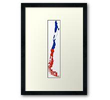 Flag Map of Chile  Framed Print