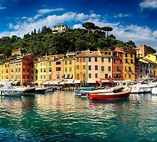 Panoramic View of Portofino Harbor by George Oze