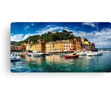 Panoramic View of Portofino Harbor Canvas Print