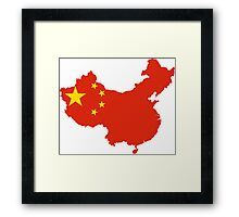 Flag Map of China  Framed Print