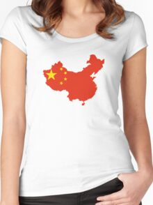 Flag Map of China  Women's Fitted Scoop T-Shirt