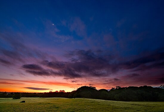 Crescent Moon and Colorful Sunrise by Jase036