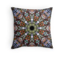 Intricate Colorful Ornate Eastern Influenced Tantric Design Stained Glass Mosaic Rosette Mandala  Throw Pillow