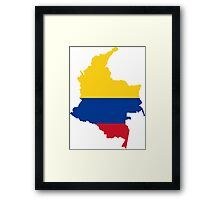 Flag Map of Colombia  Framed Print