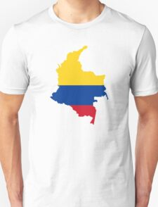 Flag Map of Colombia  Unisex T-Shirt