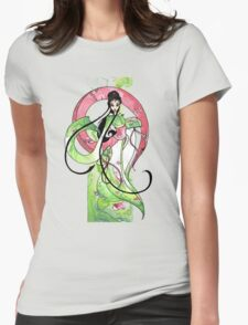 Geisha in Green with Koi and lotus Flowers T-Shirt