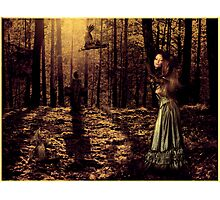 The girl with the crows Photographic Print