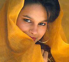 A SHY GIRL WITH YELLOW DRAPE by RakeshSyal