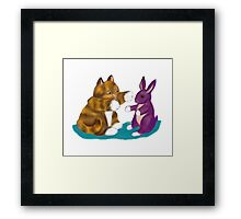 Purple Stuffed Bunny and Kitty Framed Print