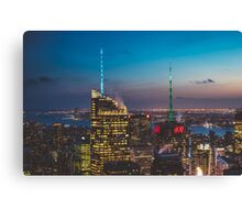 Sunset and City Lights Canvas Print