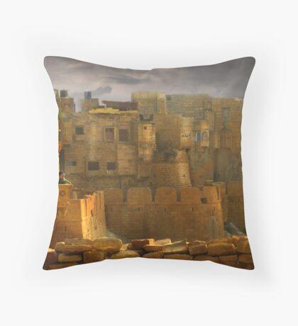 Lone Woman of Jaisalmer Throw Pillow