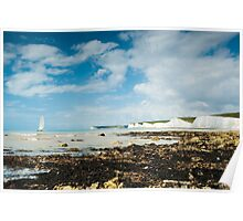 Catamaran at The Seven Sisters from Birling Gap: East Sussex, UK. Poster