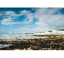 Catamaran at The Seven Sisters from Birling Gap: East Sussex, UK. Photographic Print