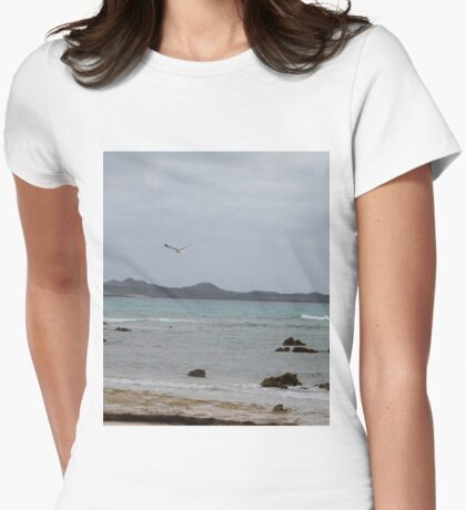 Ocean View with Seagull Womens Fitted T-Shirt