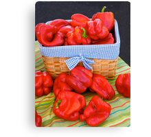 Bell peppers in a basket Canvas Print