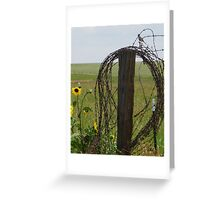Bird, Wire and Sunflowers Greeting Card