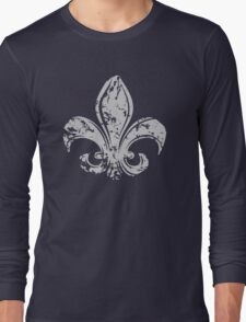 Grunge Fleur De Lis Long Sleeve T-Shirt