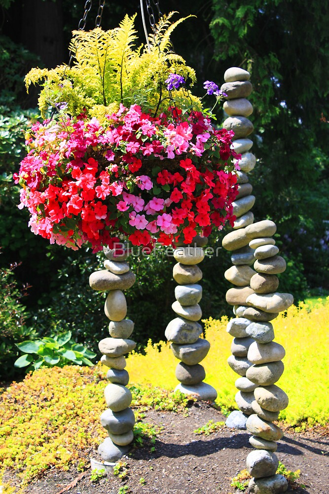 Flower Basket and Rock Statues by BlueFeather