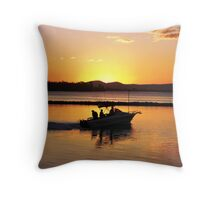 Orange Fishing Boat Sunset Throw Pillow
