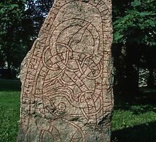 In Cathedral gardens 3-11 C AD Runestone Uppsala Sweden 198406160058  by Fred Mitchell