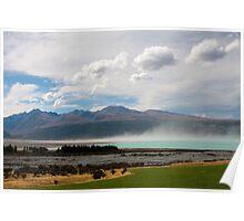 Windy day on Lake Pukaki Poster