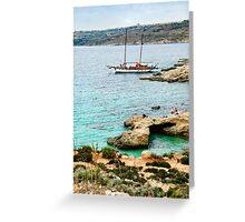 Sailing the Blue Lagoon in Malta Greeting Card