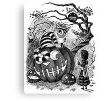 Alice and the Cheshire Cat, or A Very Merry Halloween in Wonderland Canvas Print