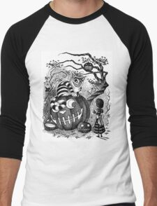 Alice and the Cheshire Cat, or A Very Merry Halloween in Wonderland Men's Baseball ¾ T-Shirt