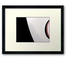 White table and saucer with red line Framed Print