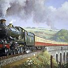 GWR Castle on Broadsands viaduct by Mike Jeffries