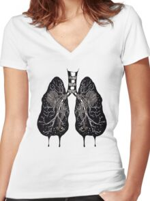Ink Lungs Women's Fitted V-Neck T-Shirt