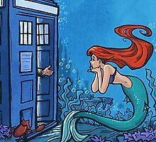 Ariel Mermaid And Tardis Custom Art by AlbertDesignArt