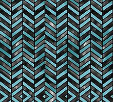 Teal and Black Cheveron Watercolor Pattern by veggiemuse
