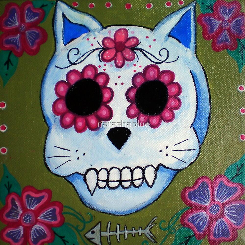 Day of the Dead El Gato Sugar Skull by natashablue