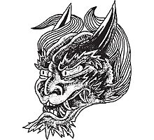 Japanese Oni Head Photographic Print