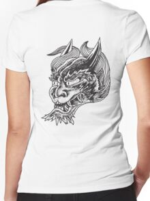 Japanese Oni Head Women's Fitted V-Neck T-Shirt