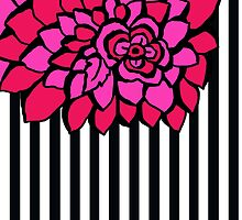 PETALS HOT PINK AND BLACK FLORAL PATTERN  by veggiemuse
