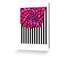 PETALS HOT PINK AND BLACK FLORAL PATTERN  Greeting Card