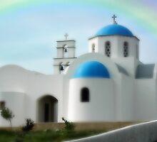 """CLASSICAL GREEK CHURCH""   SANTORINI, GREECE by Edward J. Laquale"