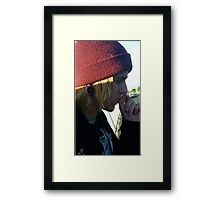Cute mysterious man on an adventure Framed Print