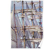 Sailing ship, setting sails Poster