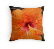 Vibrant Orange Hibiscus Throw Pillow