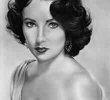 Elizabeth Taylor Drawing by John Harding