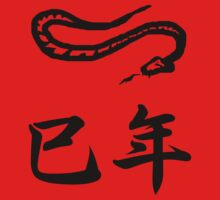 Year of the Snake Japanese Zodiac Kanji T-shirt by kanjitee
