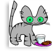 Kitty With Milk And Cookies Canvas Print