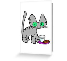 Kitty With Milk And Cookies Greeting Card