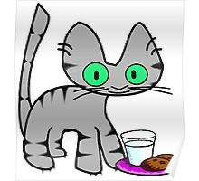 Kitty With Milk And Cookies Poster