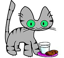Kitty With Milk And Cookies Photographic Print